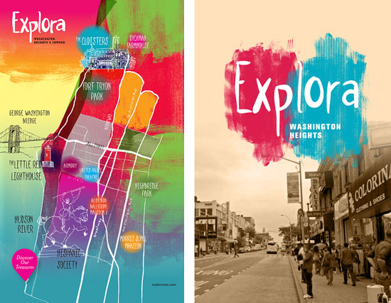 Explora map and photograph with logo